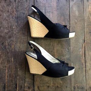 Steve Madden Cerona Black Wedge Sandal Slingback